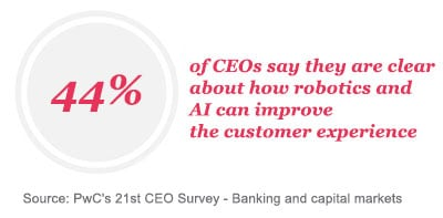 44% of CEOs say they are clear about how robotics and AI can improve the customer experience